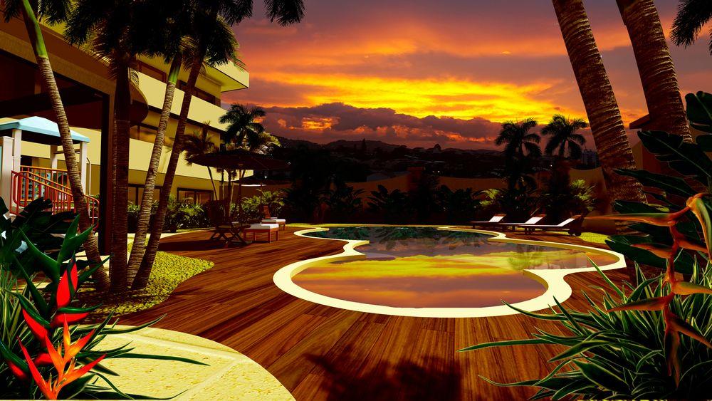 Espectacular vista desde la piscina de Orizzonte Condominios